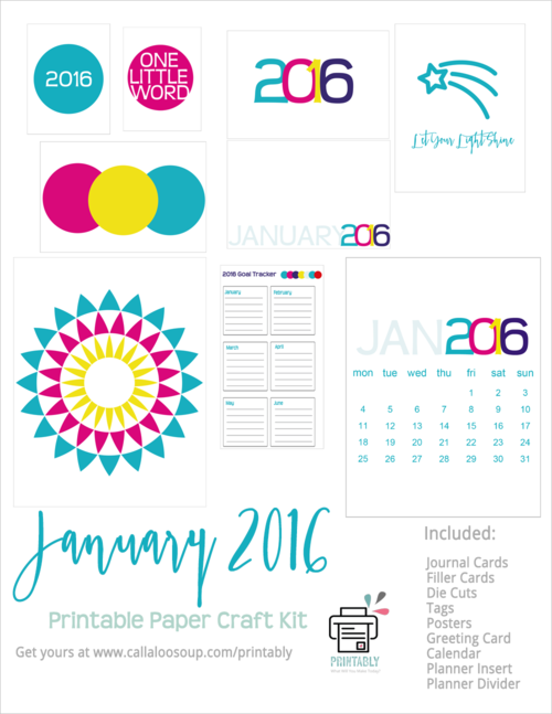 January Paper Craft Kit from Printably